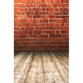Red Brick With Wooden Floor Photography Backdrop