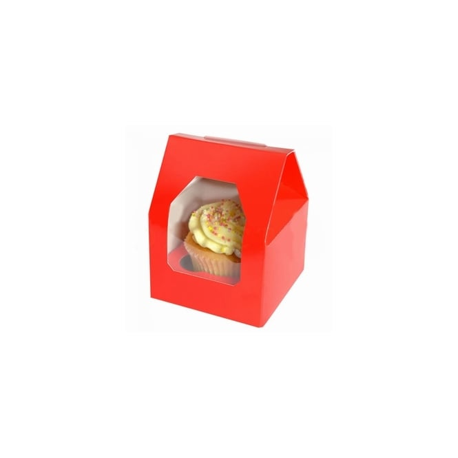The Cake Decorating Co. Red Single Cupcake Window Box and Insert