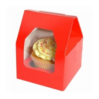 Red Single Cupcake Window Box and Insert