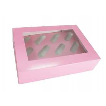 Satin Baby Pink Holds 12 Cupcake Window Box With Insert