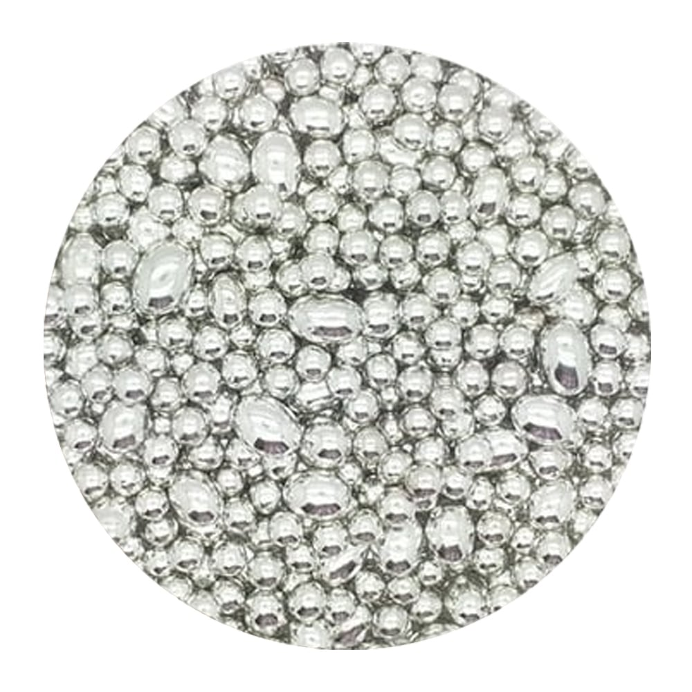 Silver - 4mm/10mm Oval And Round Mix Edible Pearls - 100g