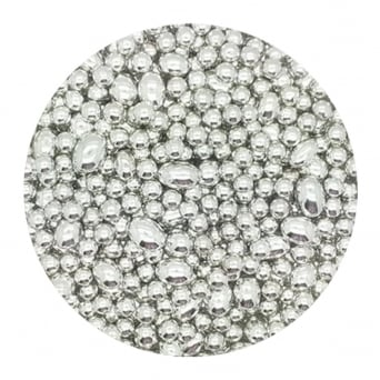 Silver - 4mm/10mm Oval And Round Mix Edible Pearls - 500g