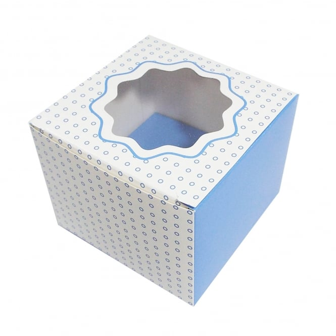 The Cake Decorating Co. Single Luxury Satin Cupcake Box - White With Blue Circles