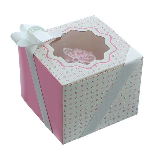 The Cake Decorating Co. Single Luxury Satin Cupcake Box - White With Pink Circles