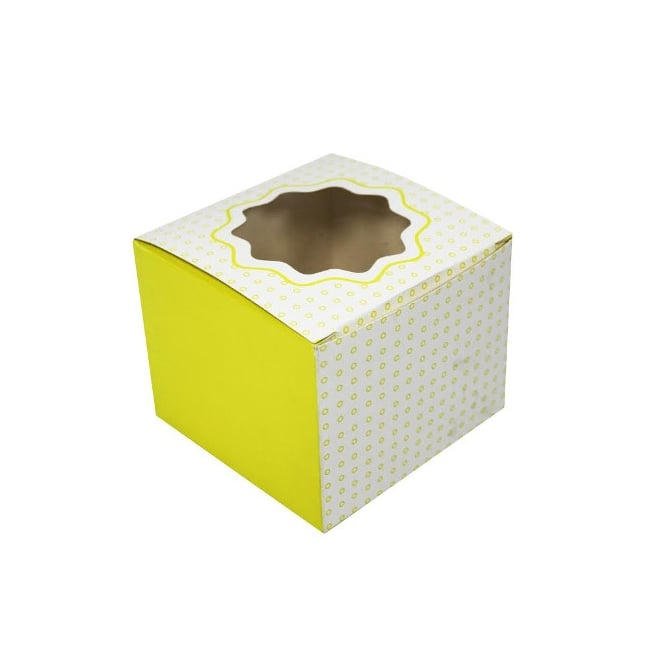 The Cake Decorating Co. Single Luxury Satin Cupcake Box - White With Yellow Circles