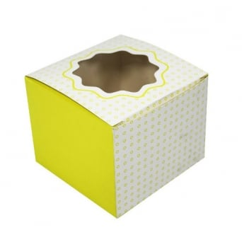 Single Luxury Satin Cupcake Box - White With Yellow Circles