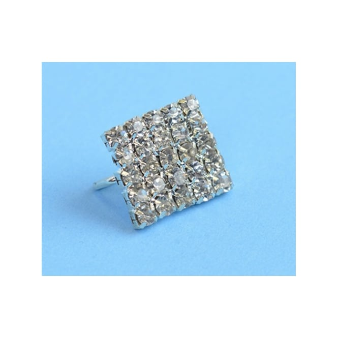 The Cake Decorating Co. Square Silver Crystal Diamante Buckle Embellishment