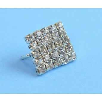 Square Silver Crystal Diamante Buckle Embellishment