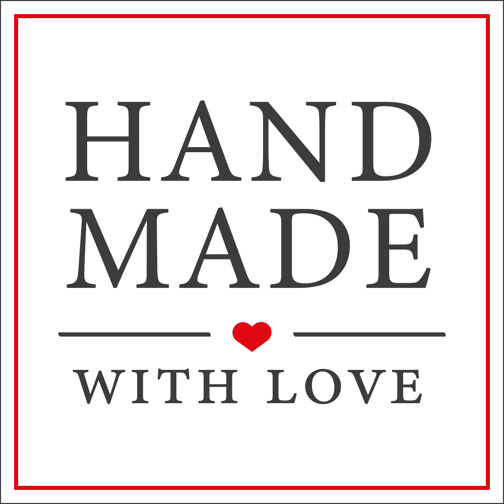 Square White 'Handmade With Love' Sticker Label Roll of 100