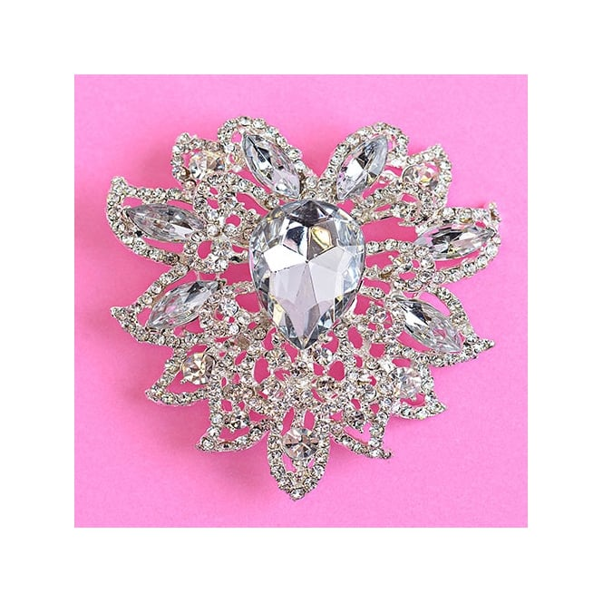 The Cake Decorating Co. Teardrop Flourish Style Crystal Diamante Brooch Decoration