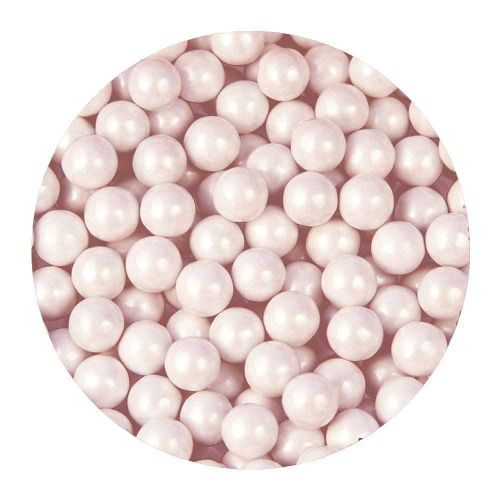 White Blush 8mm Edible Pearls | Light Pink Pearl Decorations