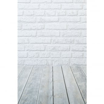 White Brick With Grey Floor Photography Backdrop
