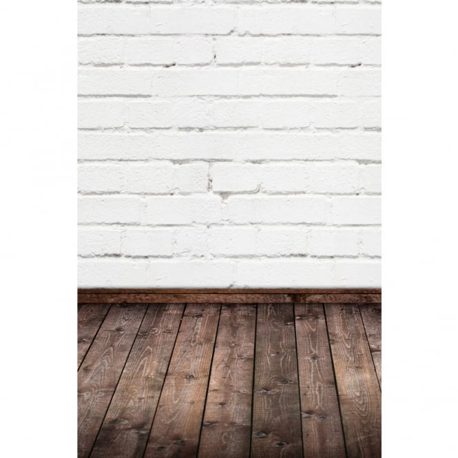 The Cake Decorating Co. White Brick With Wooden Floor Photography Backdrop