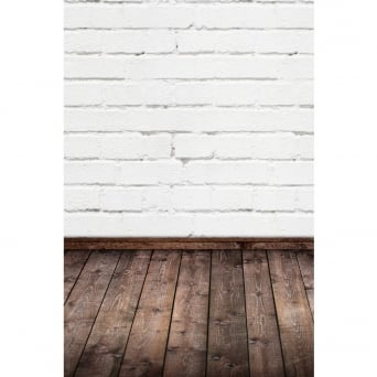 White Brick With Wooden Floor Photography Backdrop