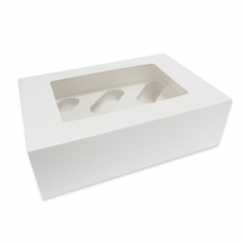 White Cupcake Boxes With Window - Choose Your Size