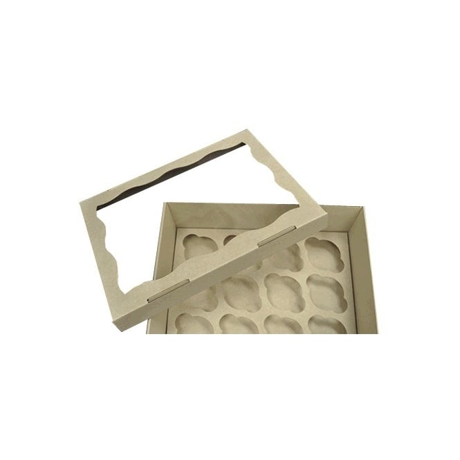 The Cake Decorating Co. Window Corrugated Heavy Duty Cardboard Cupcake Box Holds 12