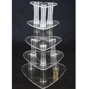 4 Tier Heart Perspex Cupcake Stand 4mm