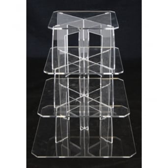 4 Tier Square Perspex Cupcake Stand 4mm