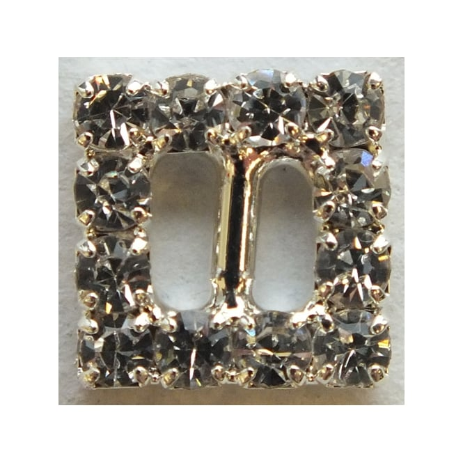 The Cake Decorating Co. 6x Small Silver Square Crystal Diamante Buckle Decorations