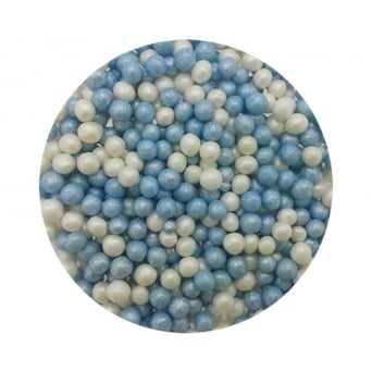 Baby Blue And White 4mm Edible Pearls - 100g