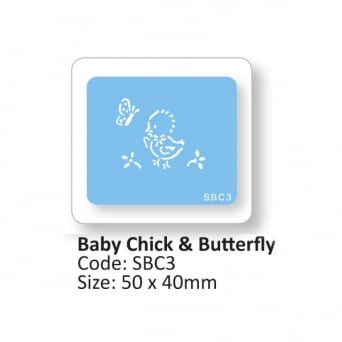 Baby Chick And Butterfly Stencil By JEM