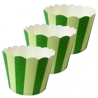 Green And Yellow Stripes Cupcake Cases x 25 Cups