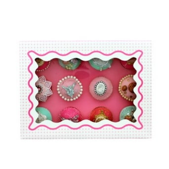 Holds 12 Luxury Satin Cupcake Box - White With Baby Pink Circles