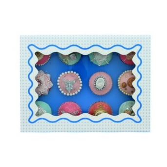 Holds 12 Luxury Satin Cupcake Box - White With Blue Circles