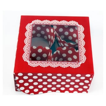 Holds 4 White Spot Cupcake Gift Set In Red