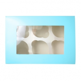 Holds 6 Luxury Satin Blue Cupcake Box With Window
