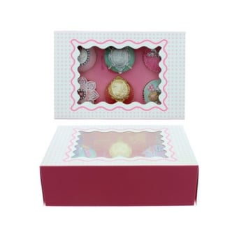 Holds 6 Luxury Satin Cupcake Box - White With Baby Pink Circles