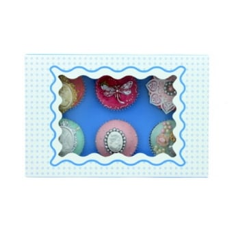 Holds 6 Luxury Satin Cupcake Box - White With Blue Circles