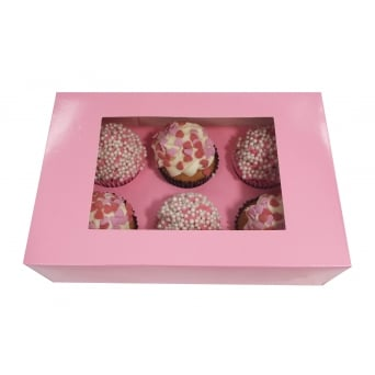 Holds 6 Luxury Satin Pink Cupcake Box With Window x1