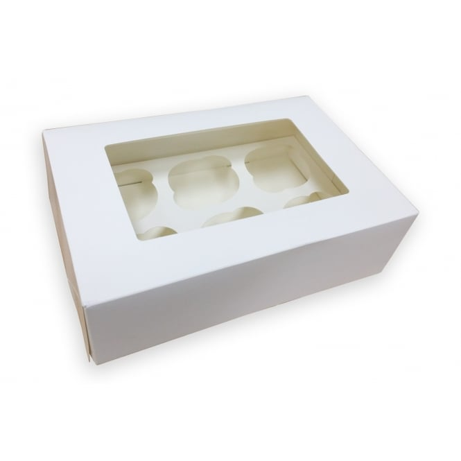 The Cake Decorating Co. Holds 6 Luxury Satin White Cupcake Box With Window
