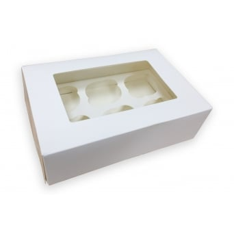 Holds 6 Luxury Satin White Cupcake Box With Window
