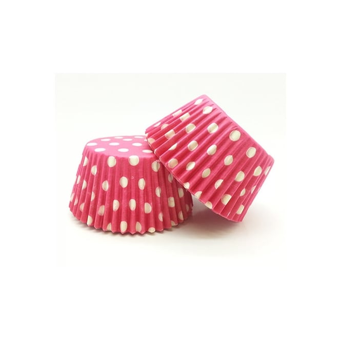 The Cake Decorating Co. Hot Pink With White Spot Muffin Baking Cups x 50
