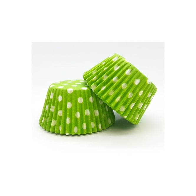 The Cake Decorating Co. Lime Green With White Spot Muffin Baking Cups x 50