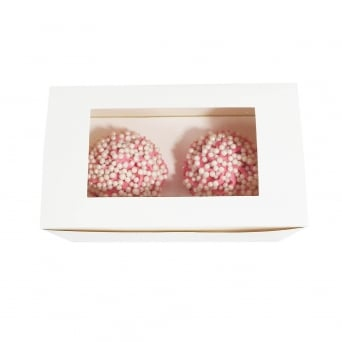 Luxury Satin White Deep Holds 2 Cupcake Box With Window