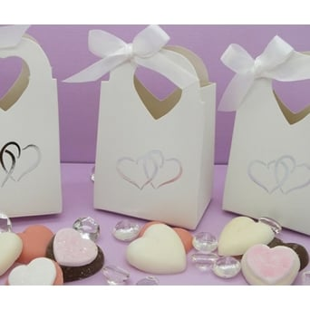 Pack Of 8 Heart Design Wedding Favour Treat Boxes