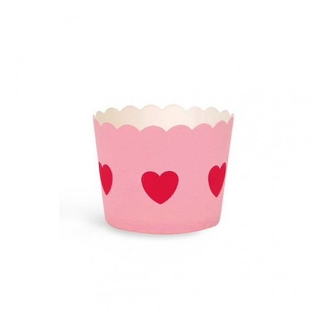 The Cake Decorating Co. Pink With Red Heart Cupcake Cases x 25 Cups