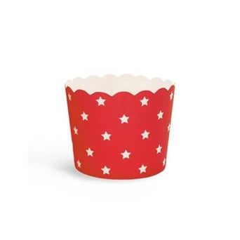 Red With White Star Cupcake Cases x 25 Cups