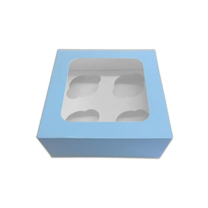 The Cake Decorating Co. Satin Baby Blue 4 Cupcake Window Box With Insert