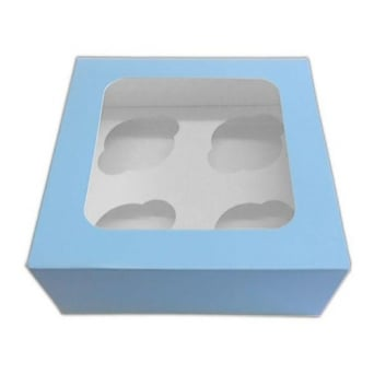 Satin Baby Blue 4 Cupcake Window Box With Insert