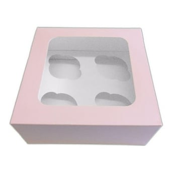 Satin Baby Pink 4 Cupcake Window Box With Insert