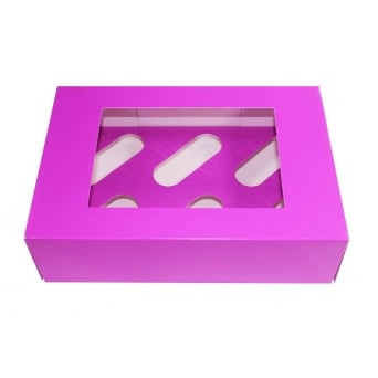 Satin Purple Holds 6 Cupcake Window Box With Insert