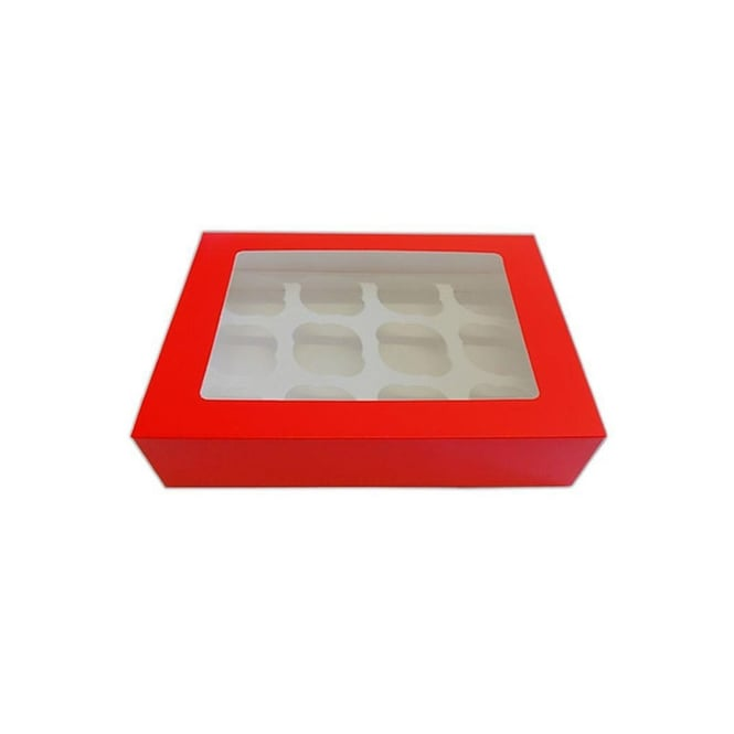 The Cake Decorating Co. Satin Red Holds 12 Cupcake Window Box With Insert
