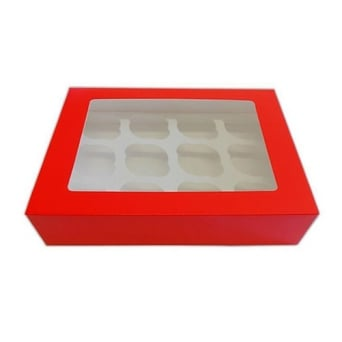 Satin Red Holds 12 Cupcake Window Box With Insert
