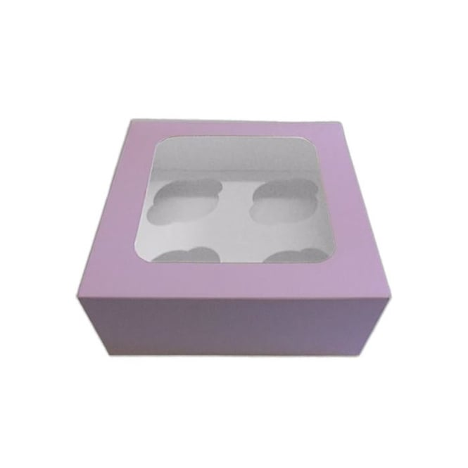 The Cake Decorating Co. Satin Violet 4 Cupcake Window Box With Insert