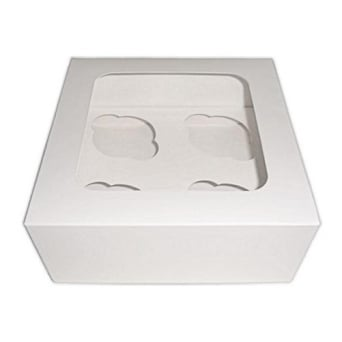 Satin White Holds 4 Cupcake Window Box With Insert
