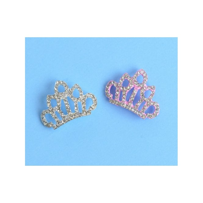 The Cake Decorating Co. Silver Crown Crystal Diamante Brooch Decoration